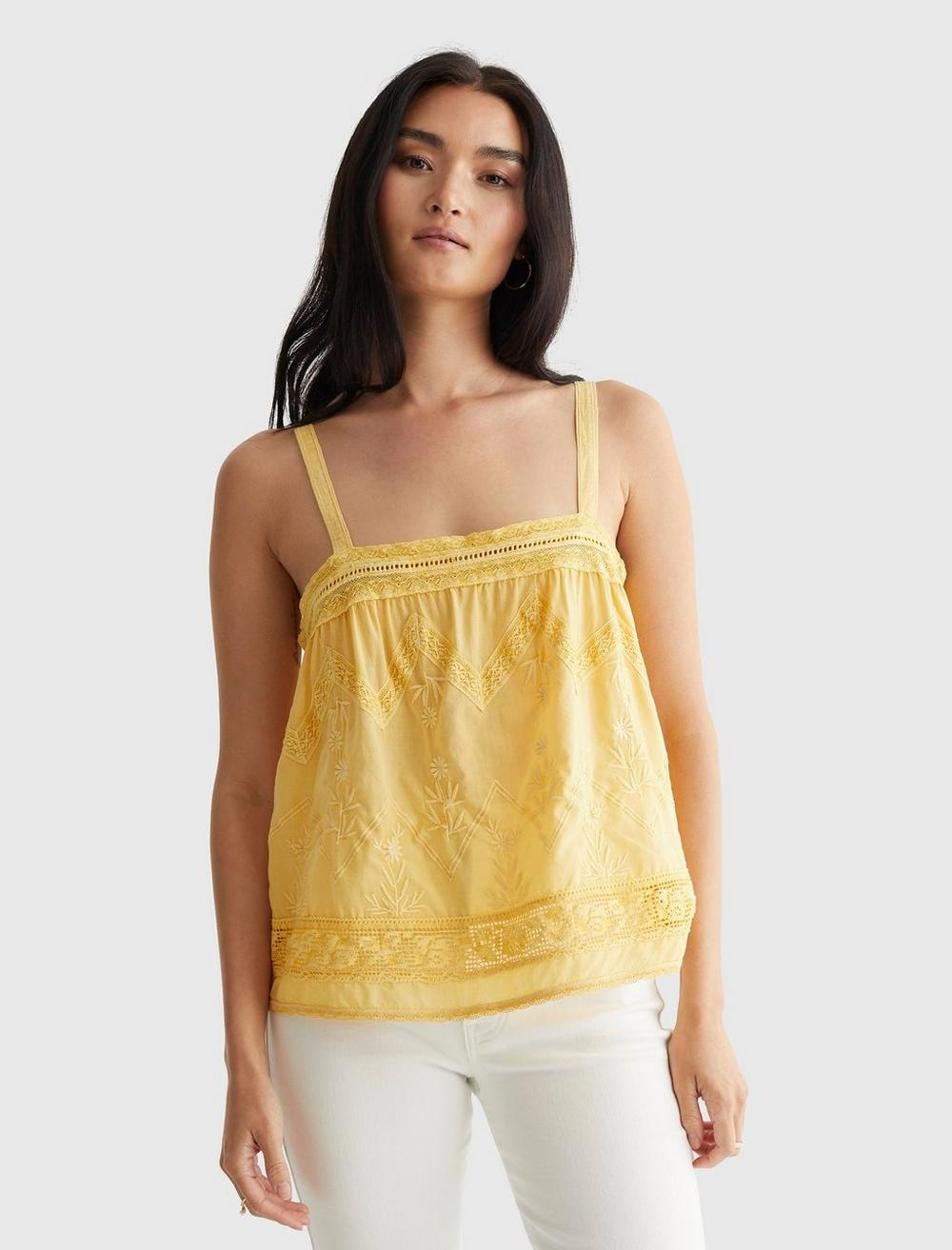 EMBROIDERED WOVEN TANK, image 1