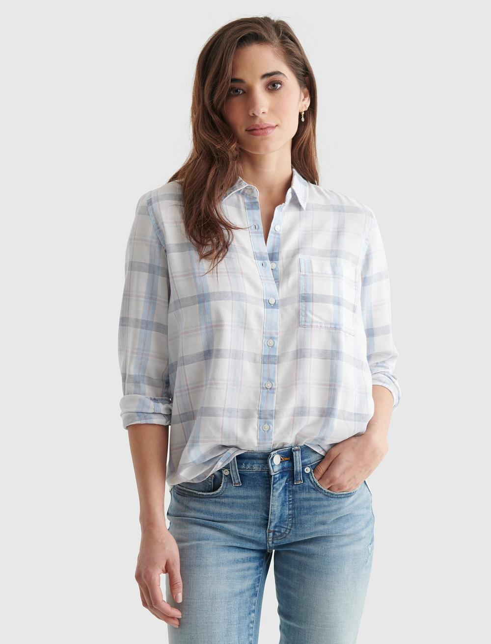 RELAXED-FIT PLAID WOVEN SHIRT, image 1