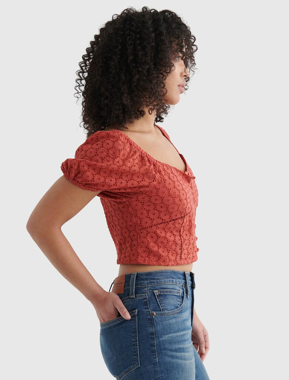 LACE SWEETHEART CROP TOP, image 3
