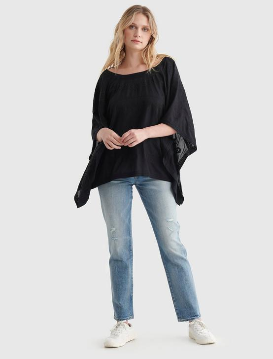 EMBROIDERED KAFTAN WOVEN BLOUSE, JET BLACK, productTileDesktop