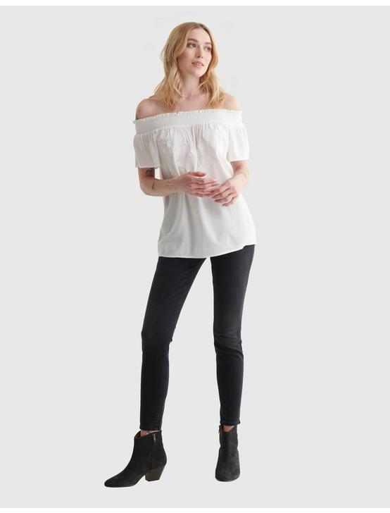 SHORT SLEEVE OFF THE SHOULDER EMBROIDERED TOP, BRIGHT WHITE, productTileDesktop