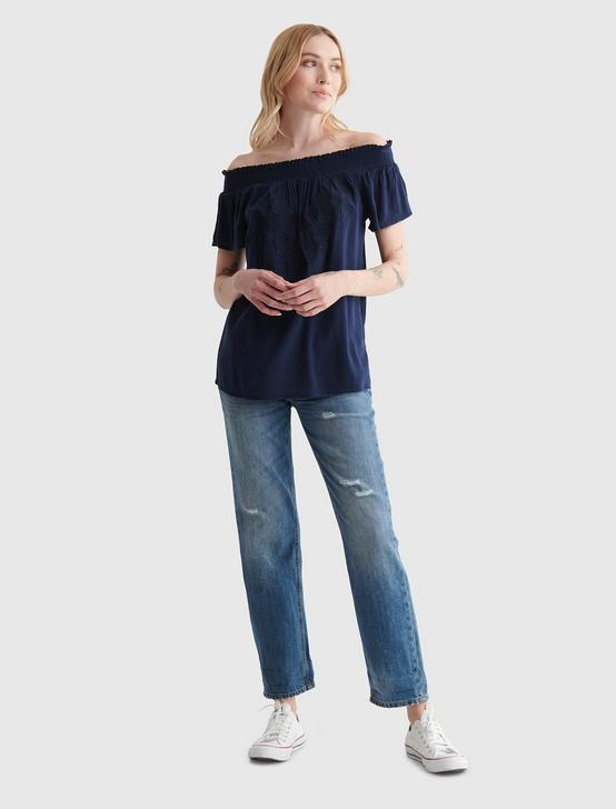 SHORT SLEEVE OFF THE SHOULDER EMBROIDERED TOP, NAVY BLAZER, productTileDesktop