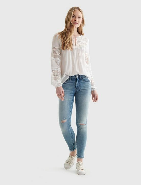 LACE-INSET BOHEMIAN BLOUSE, BRIGHT WHITE, productTileDesktop