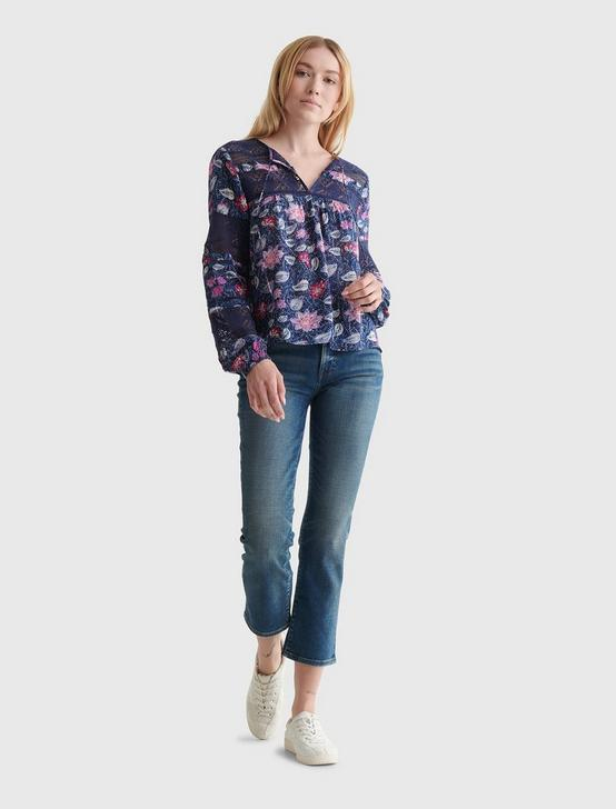 LACE-INSET BOHEMIAN BLOUSE, NAVY MULTI, productTileDesktop