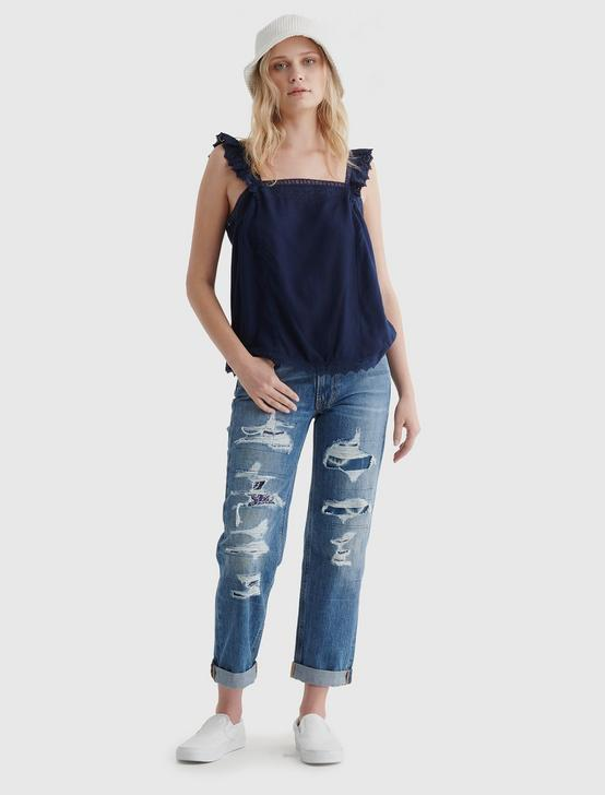 SQUARE NECK EYELET TANK, NAVY BLAZER, productTileDesktop