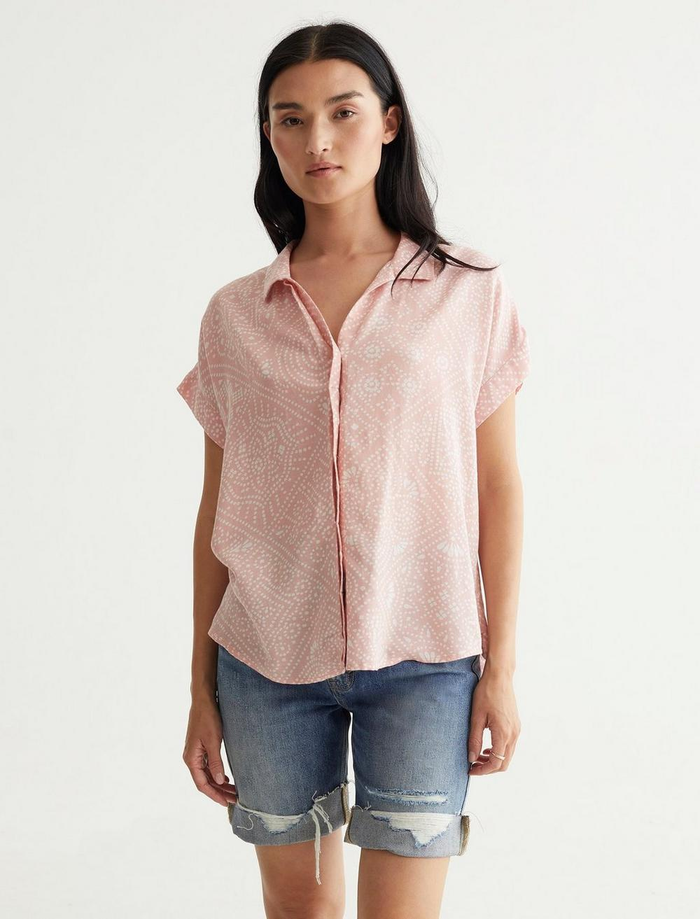 SHORT SLEEVE TIE FRONT SHIRT, image 1