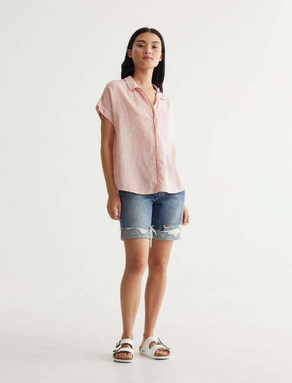 SHORT SLEEVE TIE FRONT SHIRT, image 2