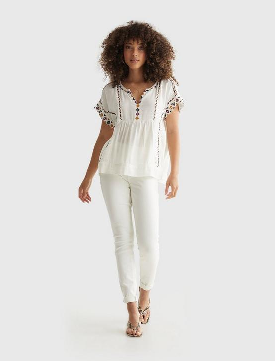 SHORT SLEEVE EMBROIDERED PEASANT TOP, CREAM, productTileDesktop