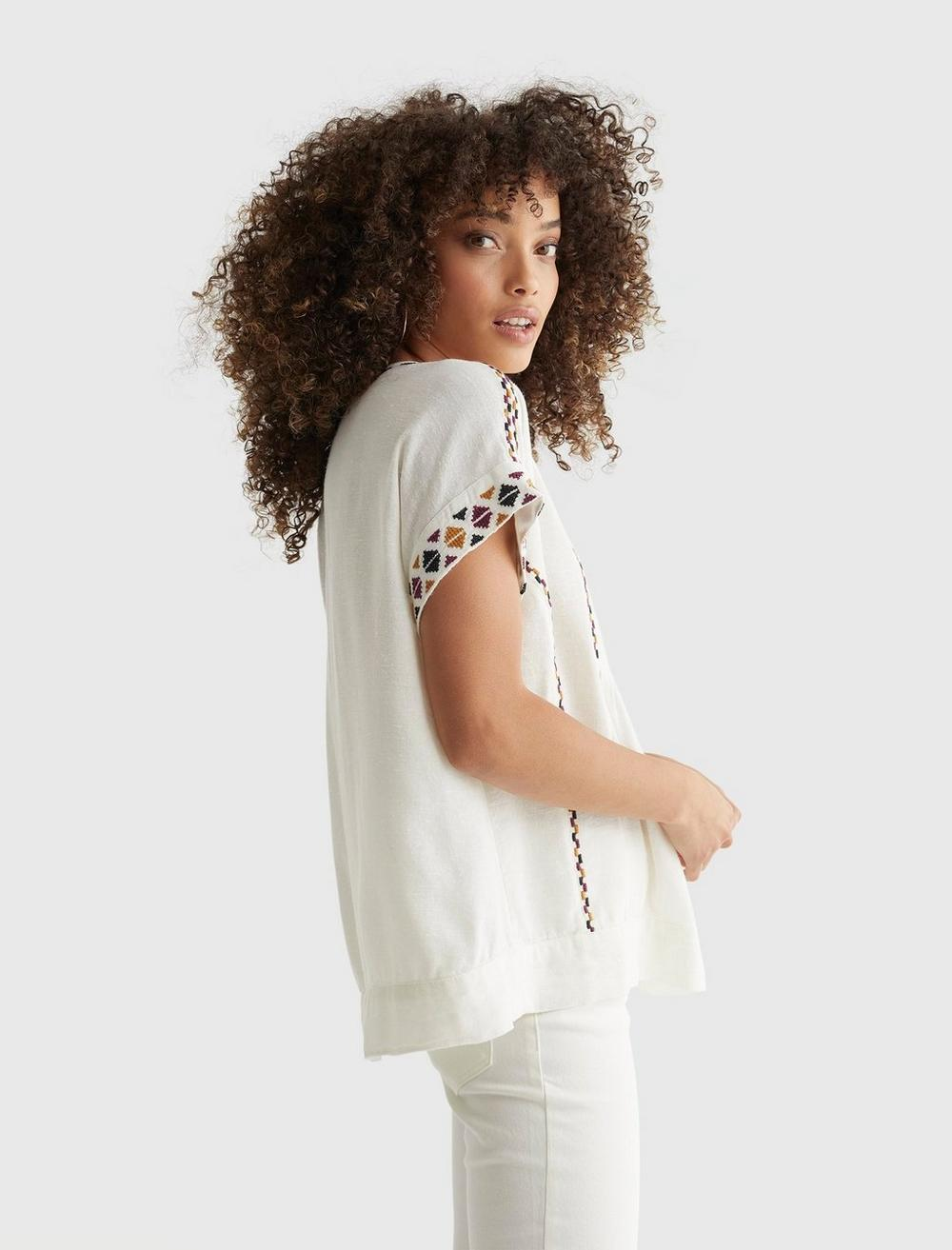 SHORT SLEEVE EMBROIDERED PEASANT TOP, image 3
