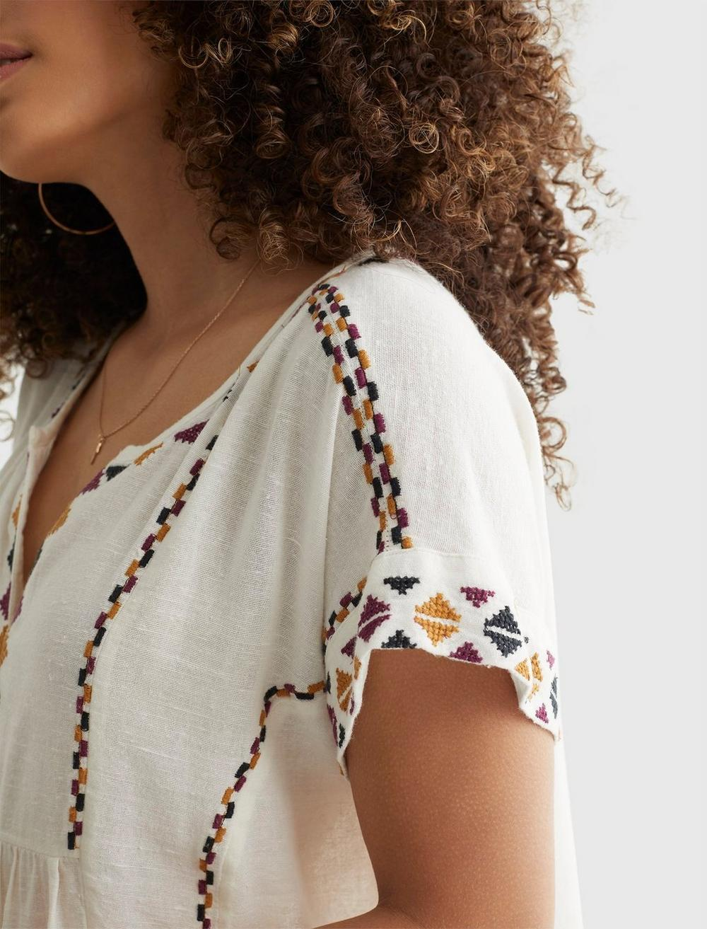 SHORT SLEEVE EMBROIDERED PEASANT TOP, image 5