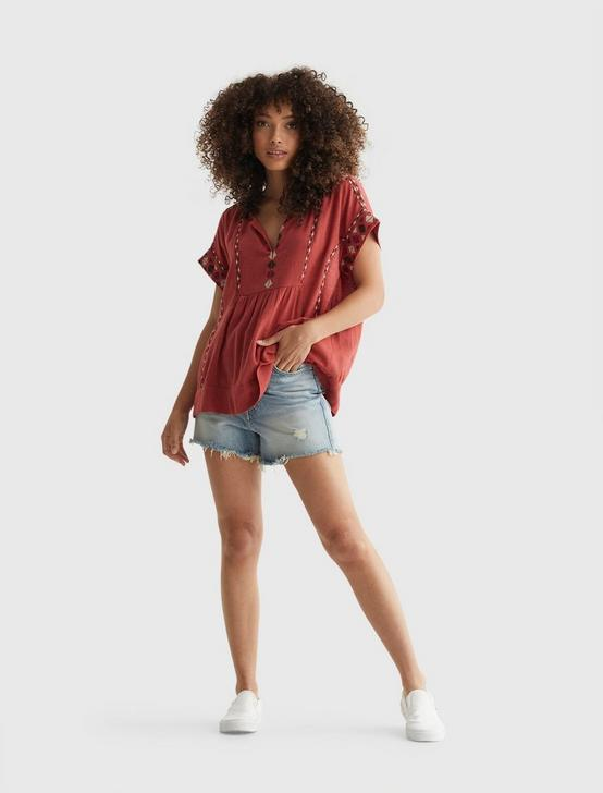 SHORT SLEEVE EMBROIDERED PEASANT TOP, TANDORI SPICE, productTileDesktop