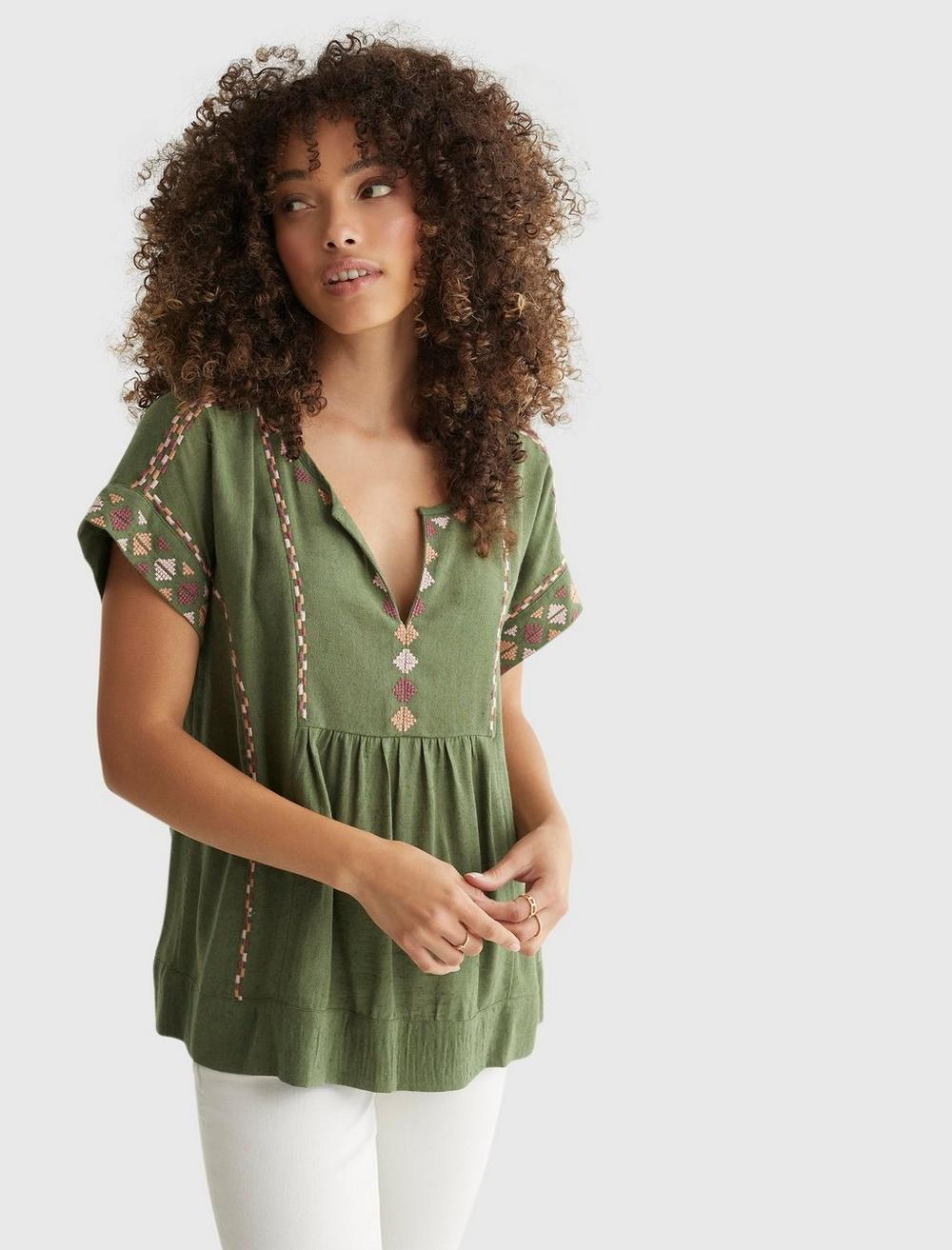 SHORT SLEEVE EMBROIDERED PEASANT TOP, image 1