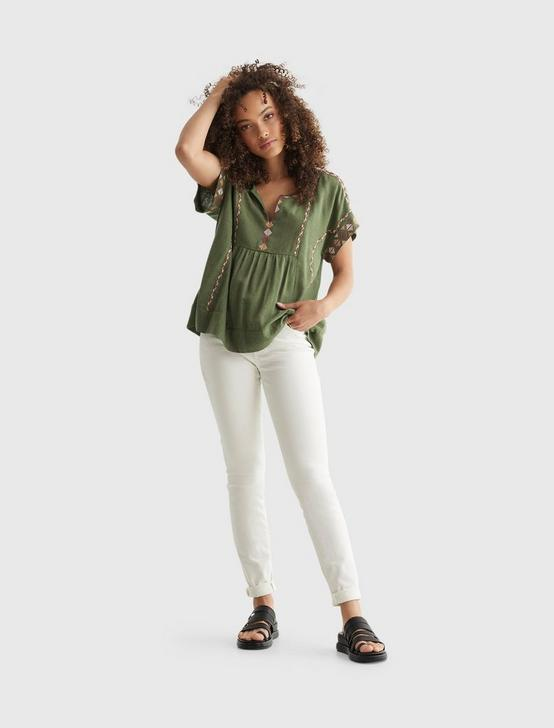 SHORT SLEEVE EMBROIDERED PEASANT TOP, BRONZE GREEN, productTileDesktop