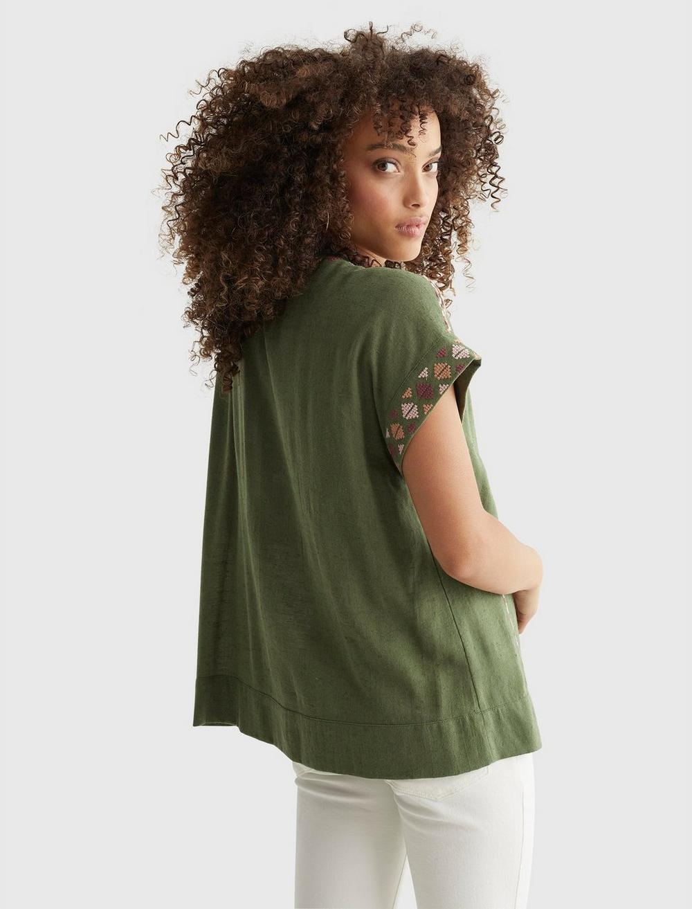 SHORT SLEEVE EMBROIDERED PEASANT TOP, image 4