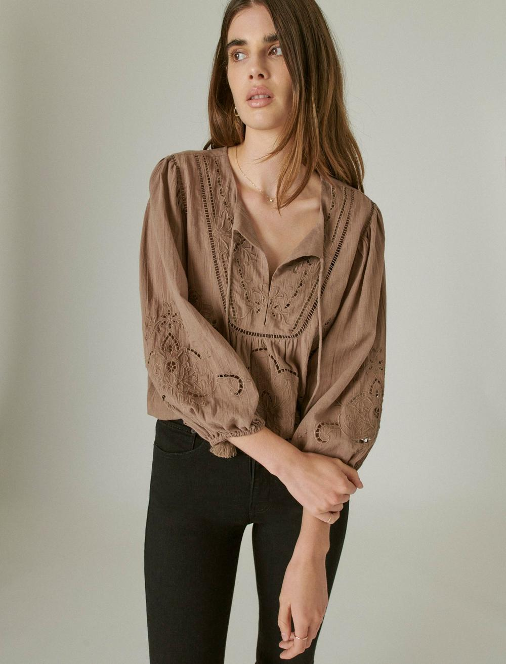 EMBROIDERED PEASANT BLOUSE, image 1