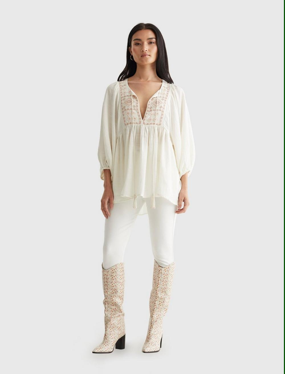 LIMITED EDITION BEADED TIE PEASANT TOP, image 2