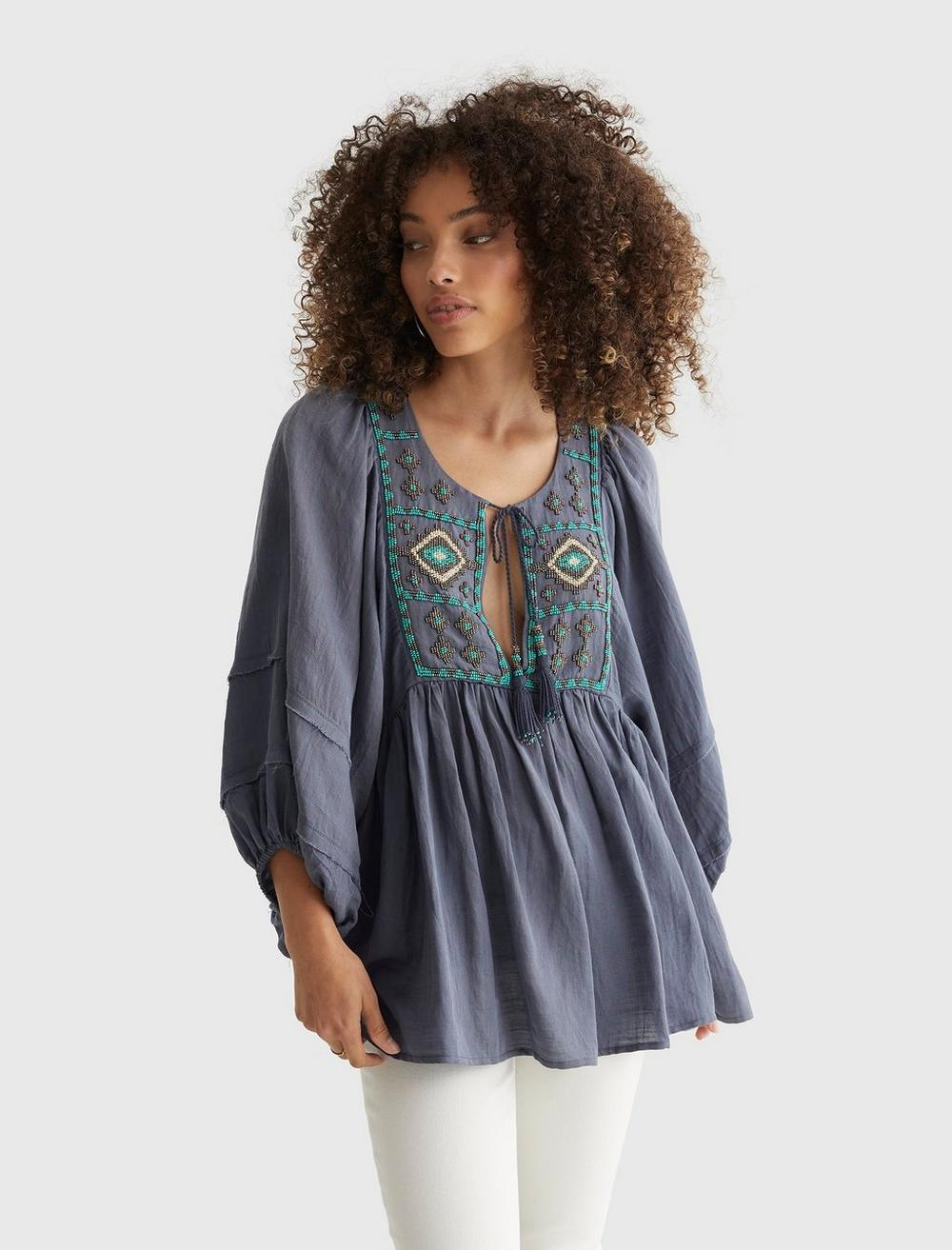 LIMITED EDITION BEADED TIE PEASANT TOP, image 1