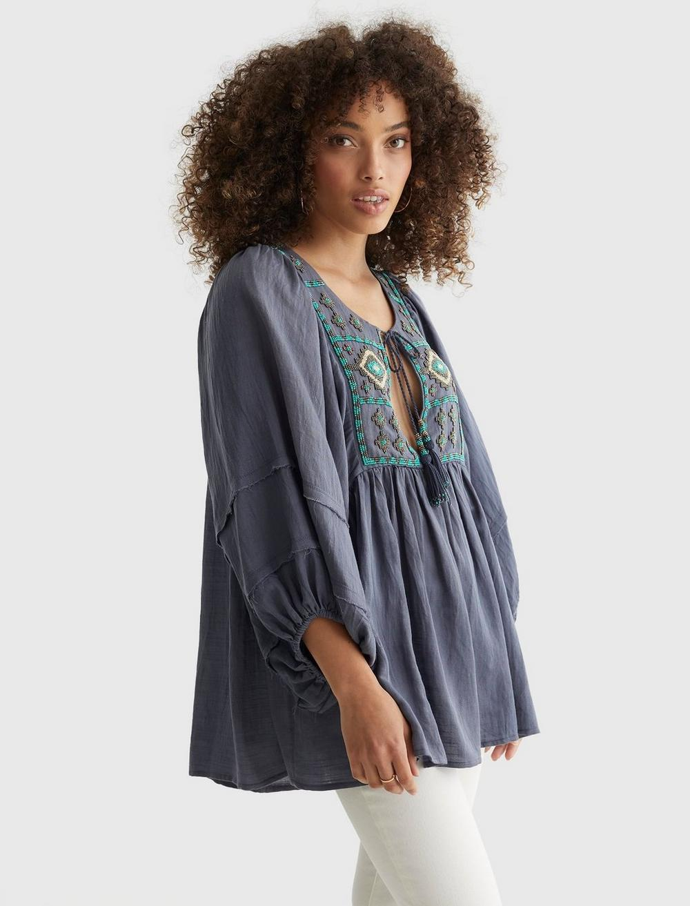 LIMITED EDITION BEADED TIE PEASANT TOP, image 3