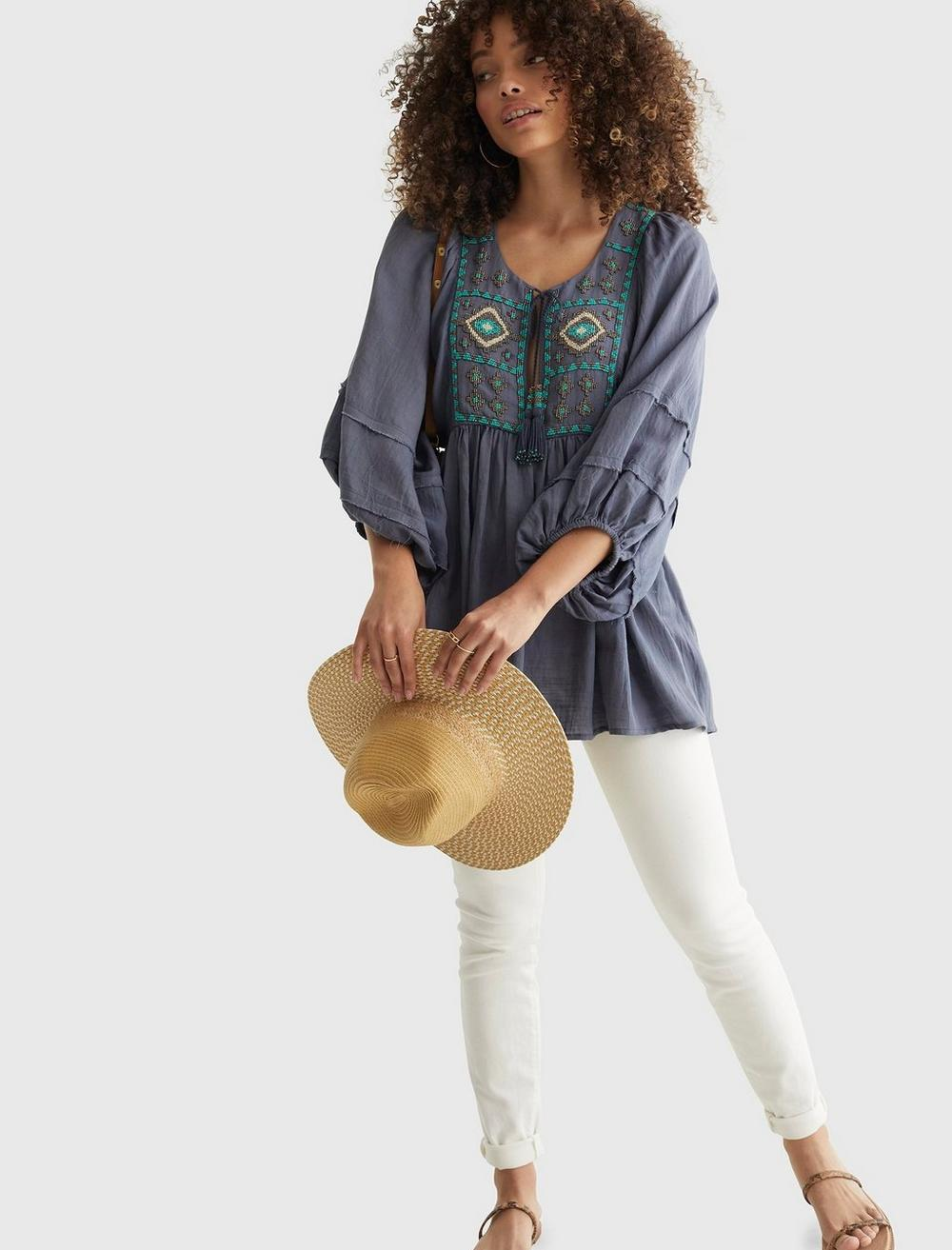 LIMITED EDITION BEADED TIE PEASANT TOP, image 6