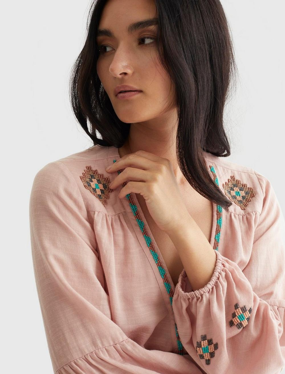 LIMITED EDITION BEADED SURPLICE WRAP TOP, image 5