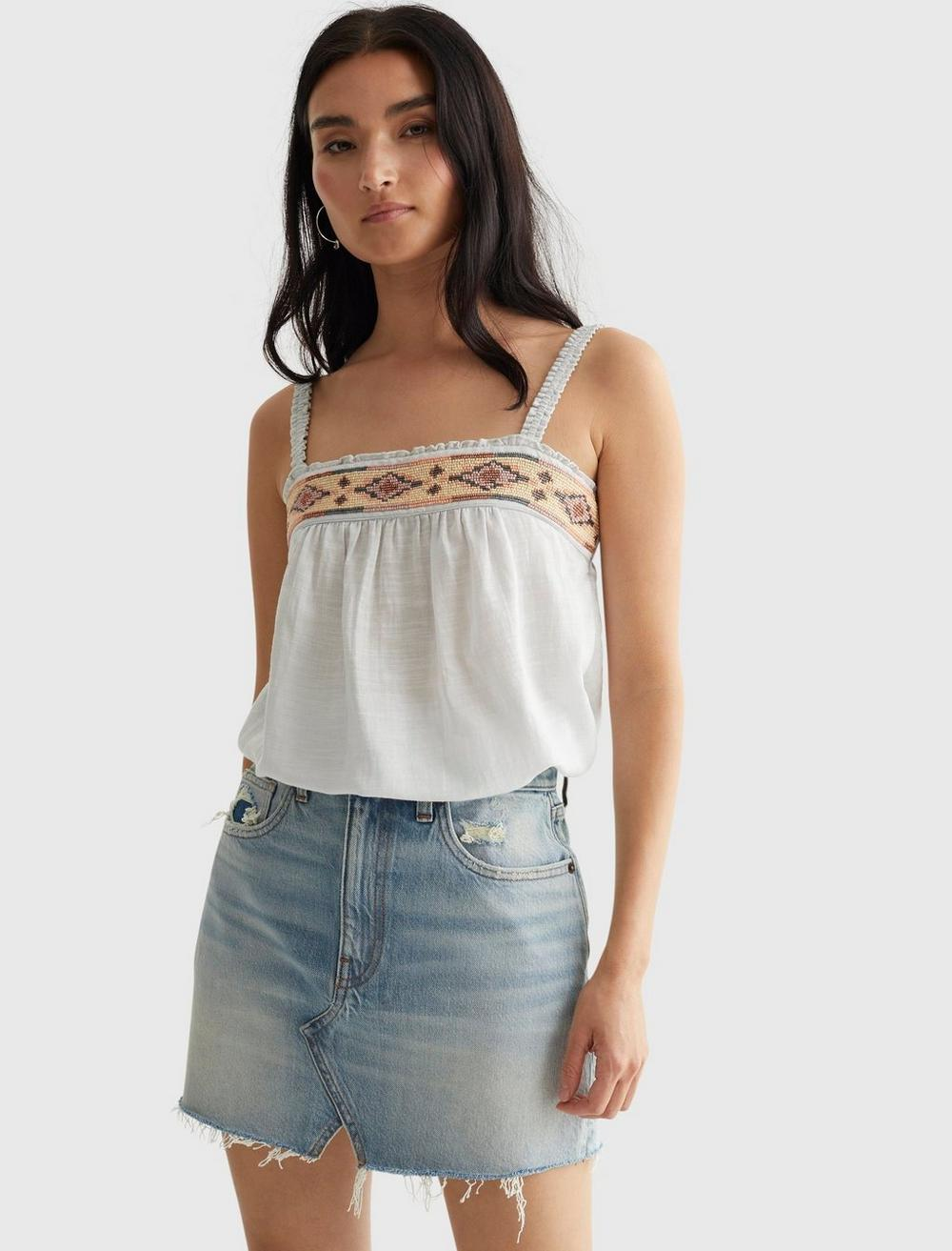 LIMITED EDITION BEADED SQUARE NECK CAMI, image 1