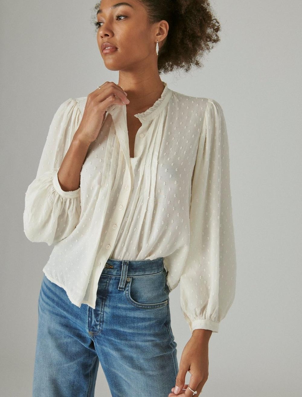 CLIP DOT LONG SLEEVE BUTTON UP BLOUSE, image 6