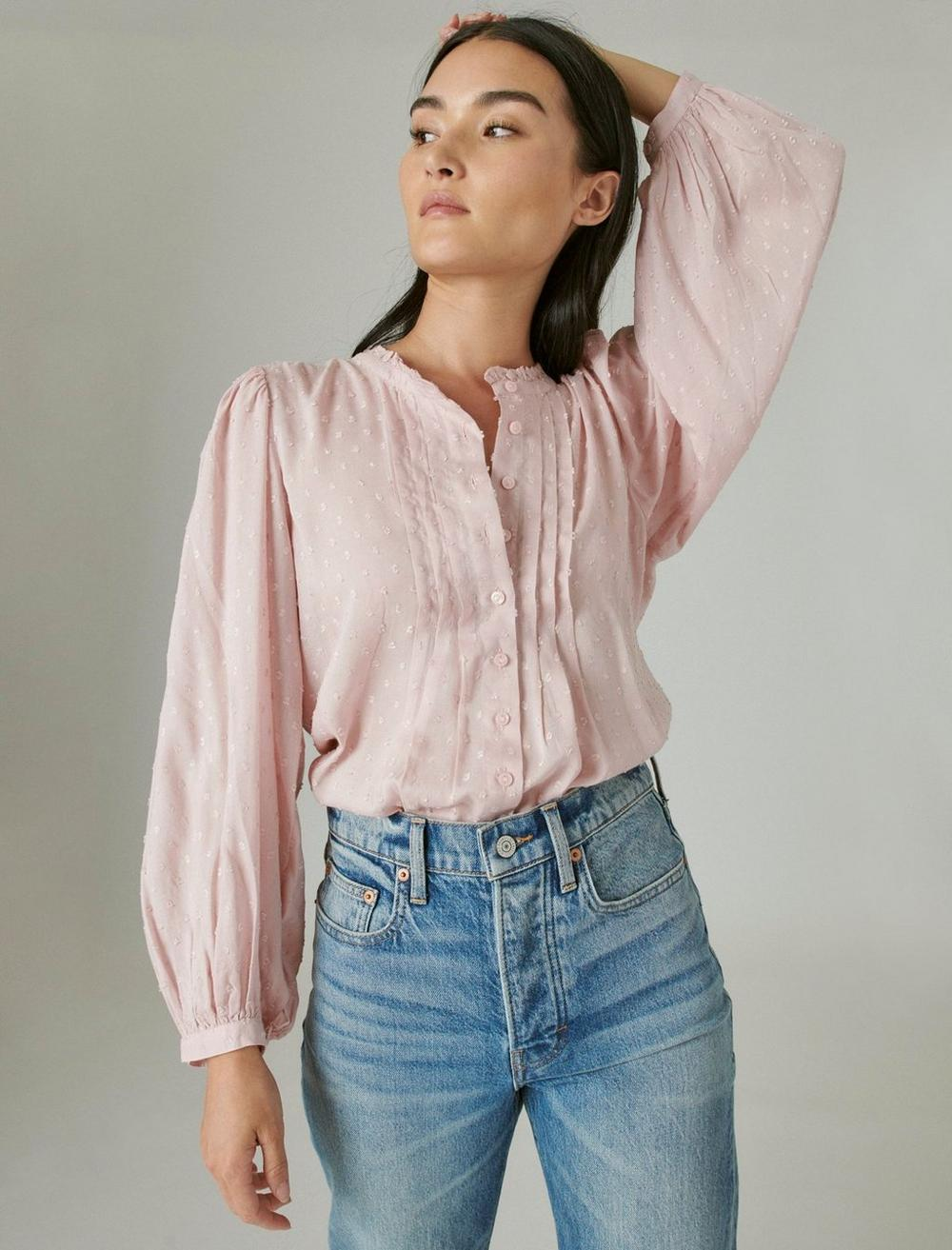 CLIP DOT LONG SLEEVE BUTTON UP BLOUSE, image 1