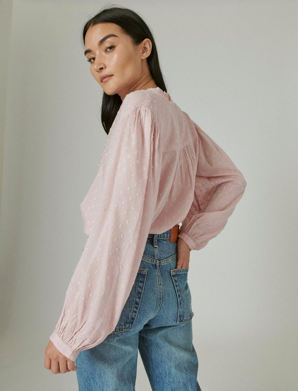 CLIP DOT LONG SLEEVE BUTTON UP BLOUSE, image 4