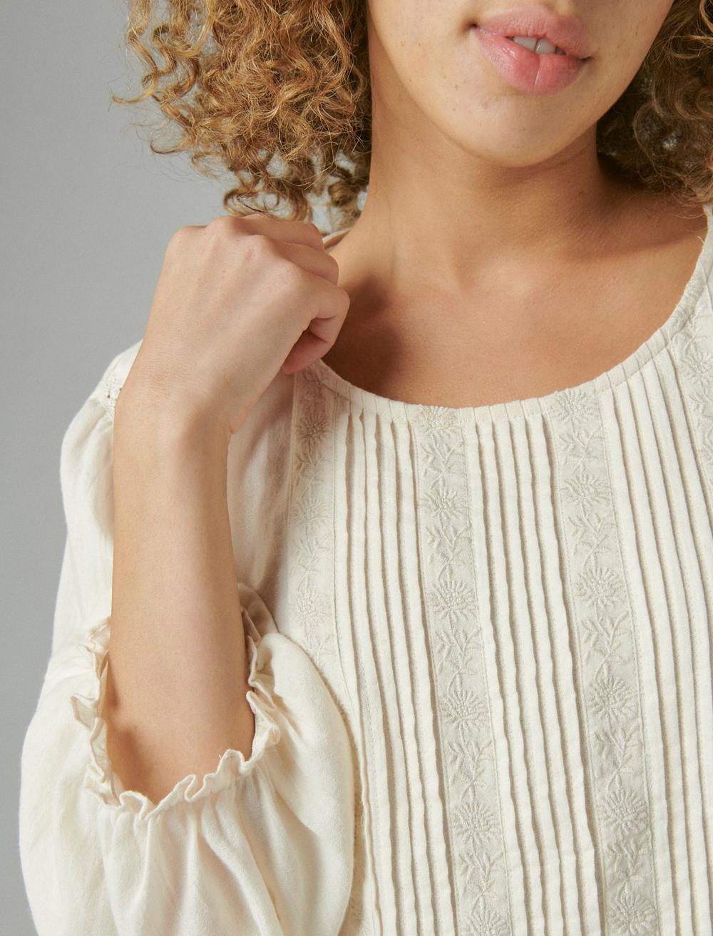 EMBROIDERED ROUND NECK BOXY BLOUSE, image 5
