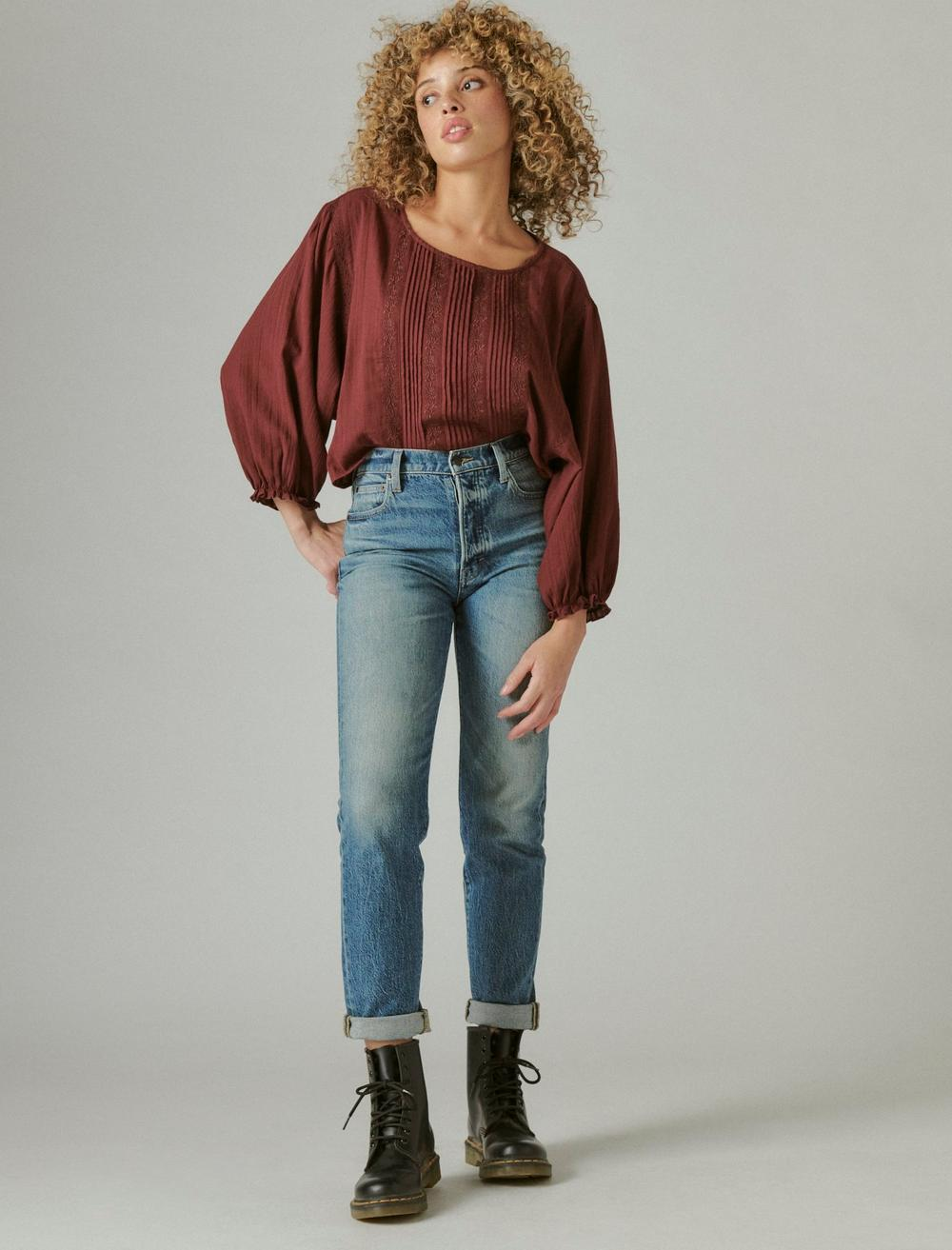 EMBROIDERED ROUND NECK BOXY BLOUSE, image 2