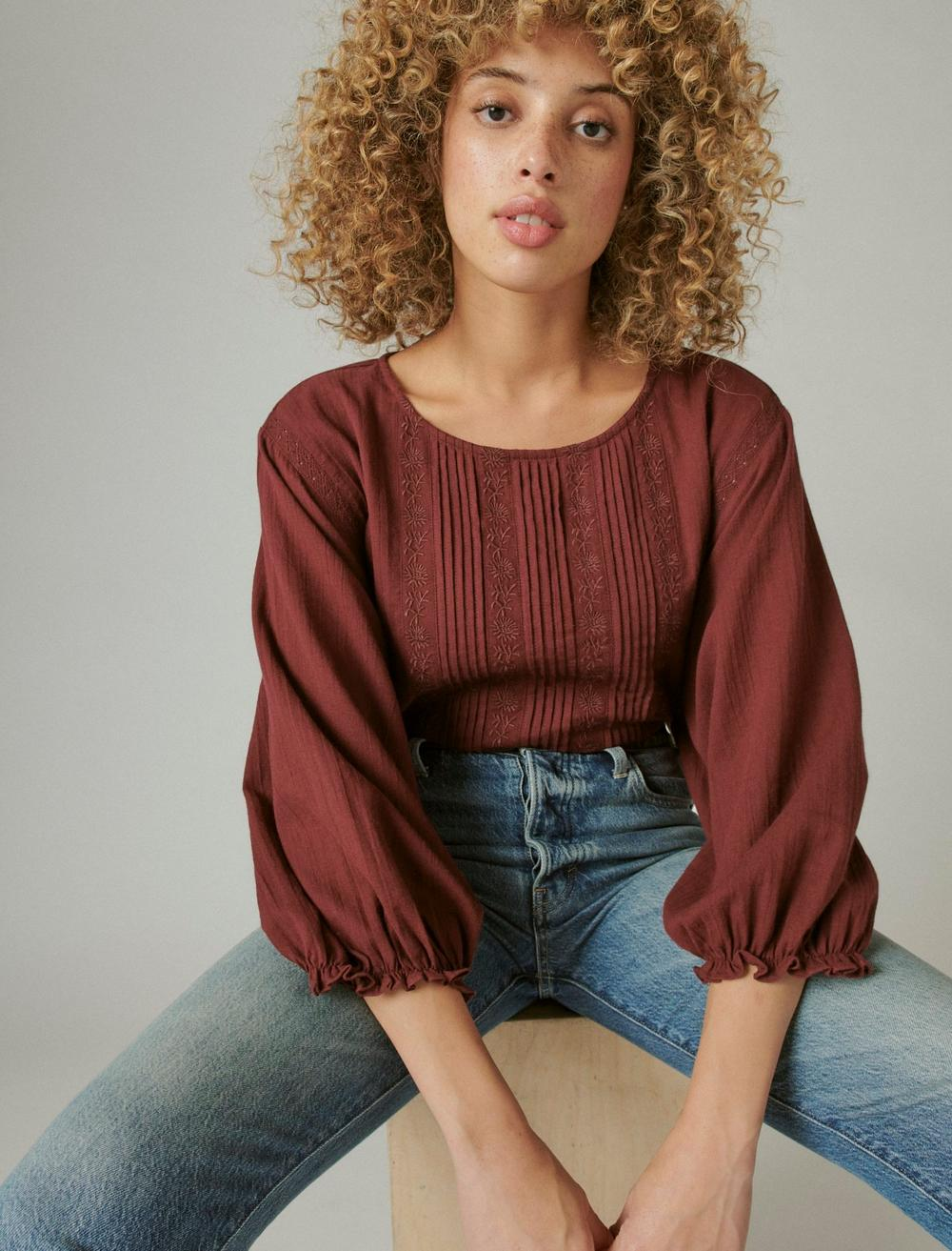 EMBROIDERED ROUND NECK BOXY BLOUSE, image 6