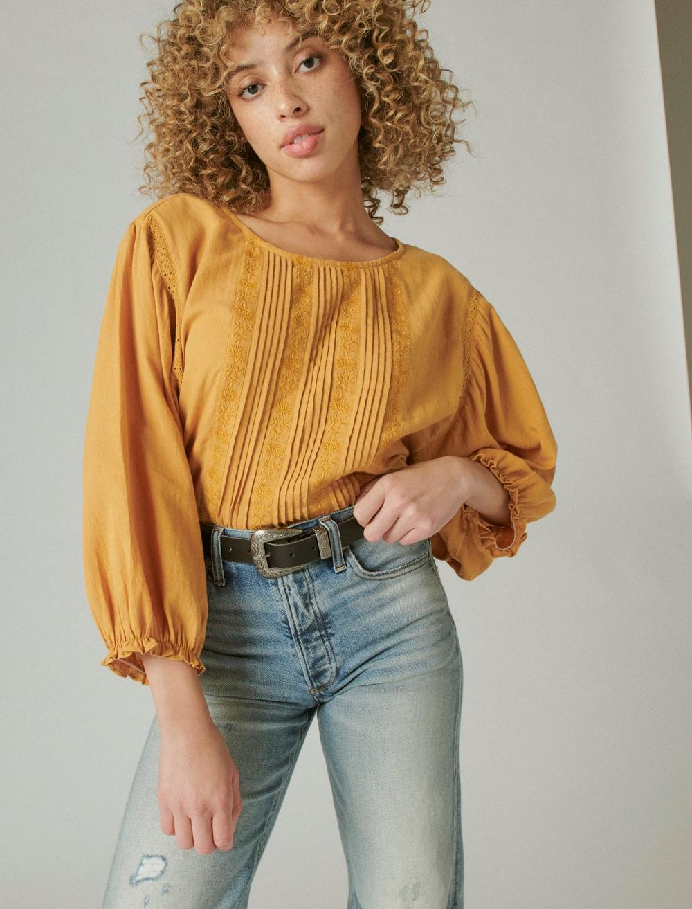 EMBROIDERED ROUND NECK BOXY BLOUSE, image 1