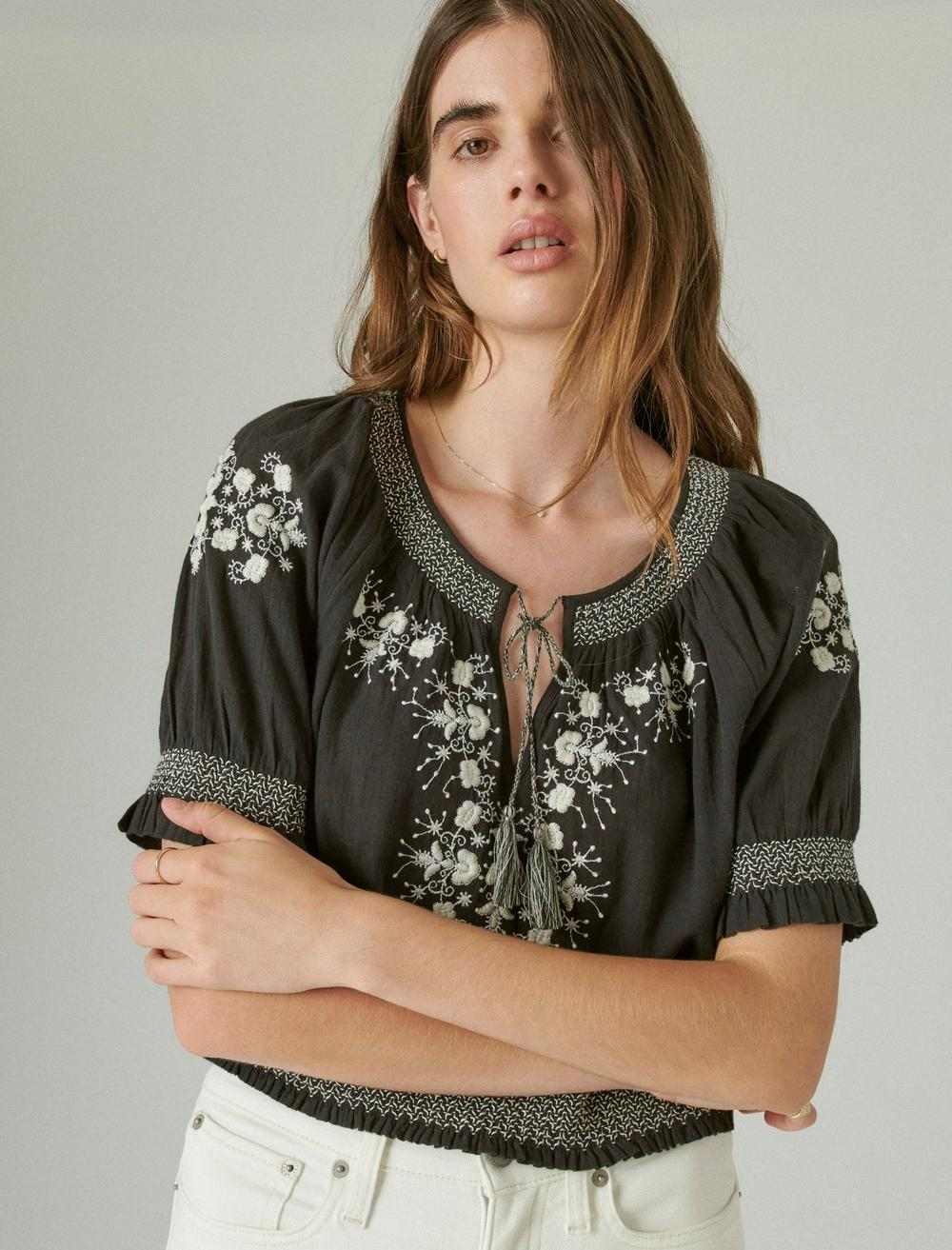 EMBROIDERED SHORT SLEEVE TOP, image 1