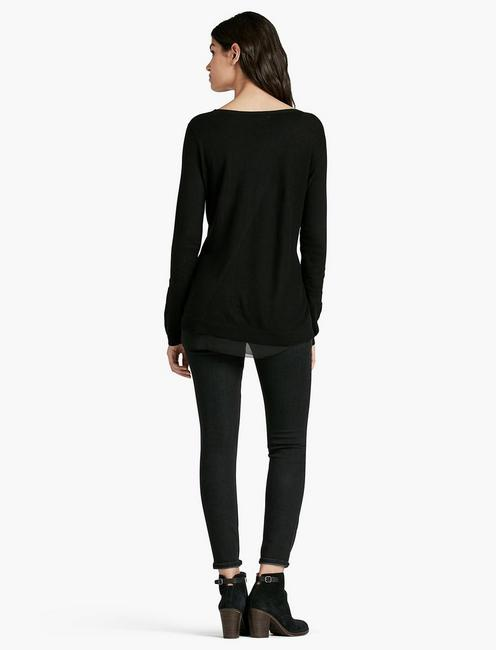 WOVEN TUNIC SWEATER, 001 LUCKY BLACK