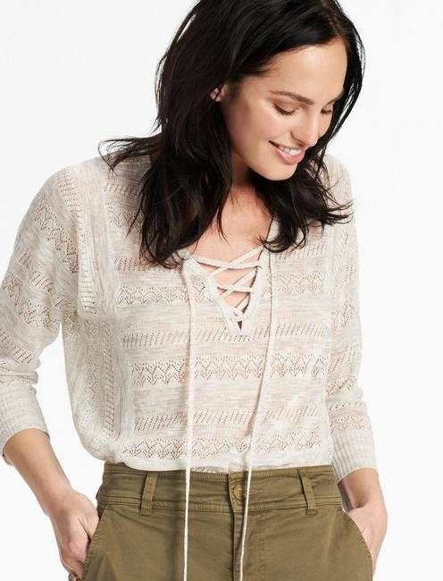 LILY LACE UP PULLOVER,