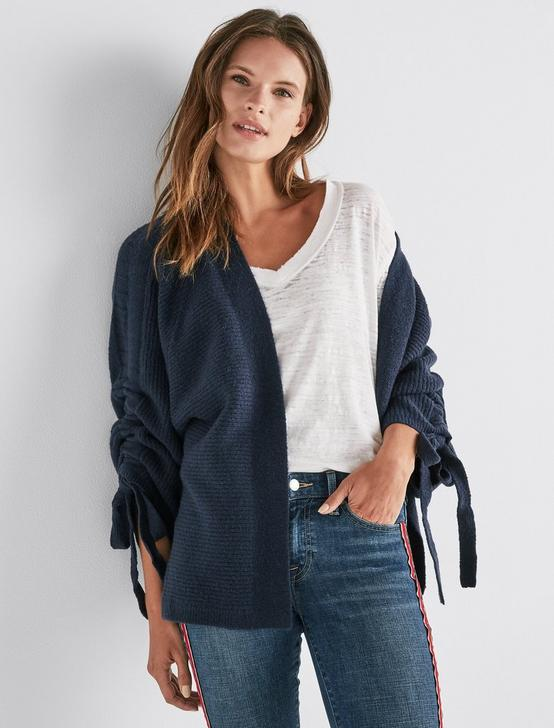 CINCHED SLEEVE CARDIGAN, AMERICAN NAVY, productTileDesktop
