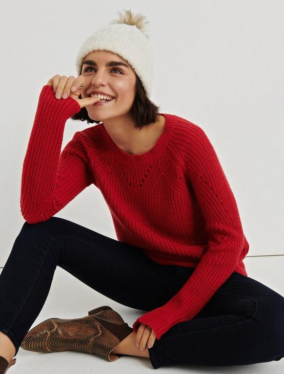 CREW NECK POINTELLE SWEATER, 636 RED, productTileDesktop