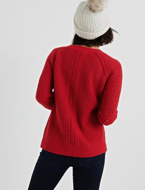 CREW NECK POINTELLE SWEATER, 636 RED