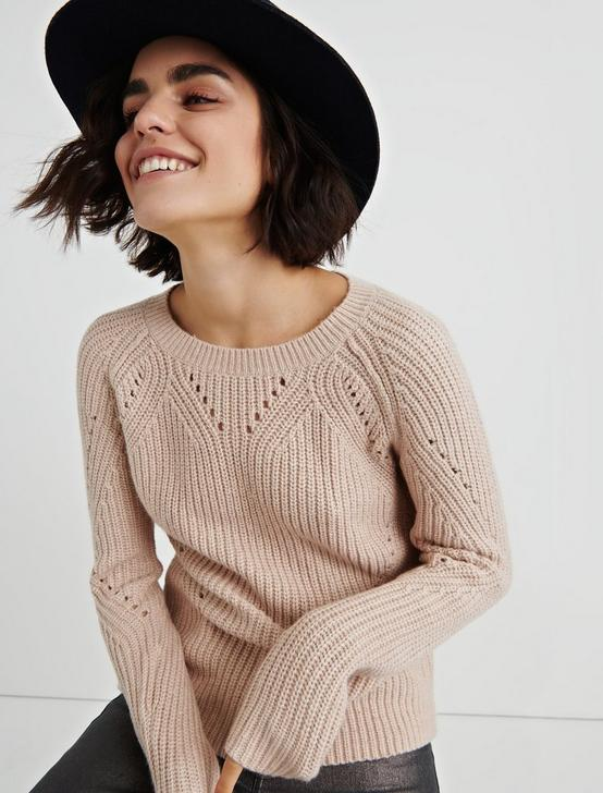 CREW NECK POINTELLE SWEATER, HEATHER PINK, productTileDesktop