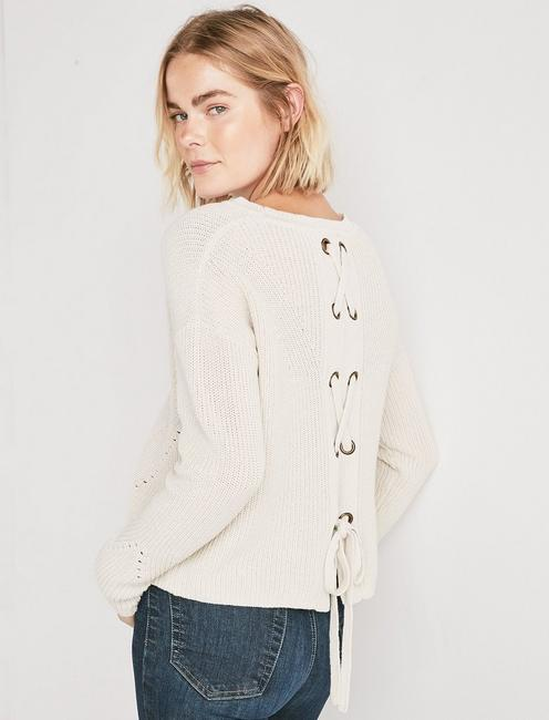 BACK LACE PULLOVER SWEATER,