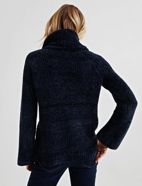 CHENILLE COWL NECK, NAVY