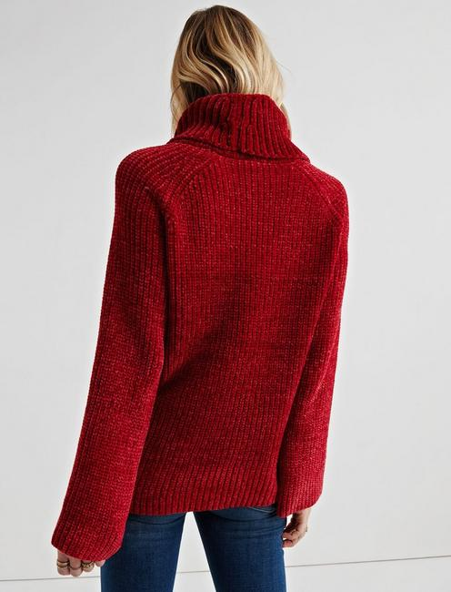 CHENILLE COWL NECK, CHERRY RED