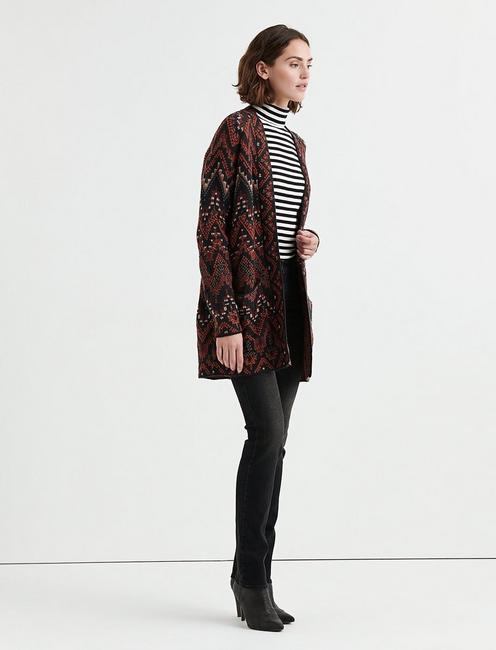 LONG IKAT CARDIGAN, RED MULTI