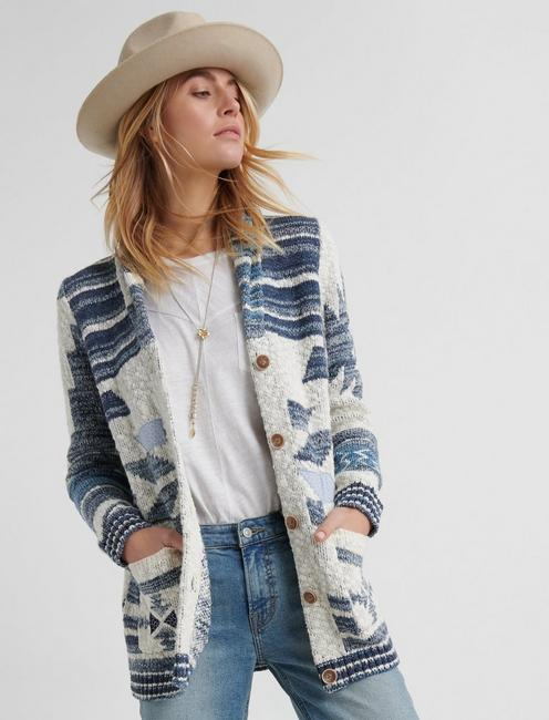 Jacquard Patch Cardigan