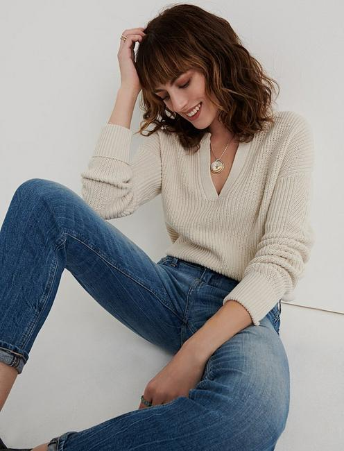 Notch Neck Pointelle Pullover