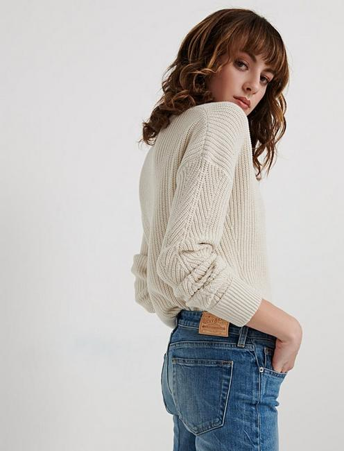 NOTCH NECK POINTELLE PULLOVER, #130 NATURAL