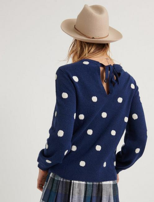 POLKA DOT TIE BACK PULLOVER, NAVY MULTI