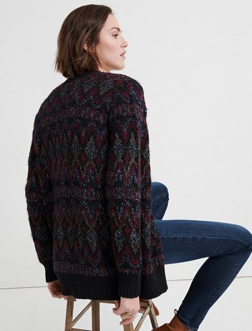 SHINE FAIR ISLE CARDIGAN, BLACK MULTI