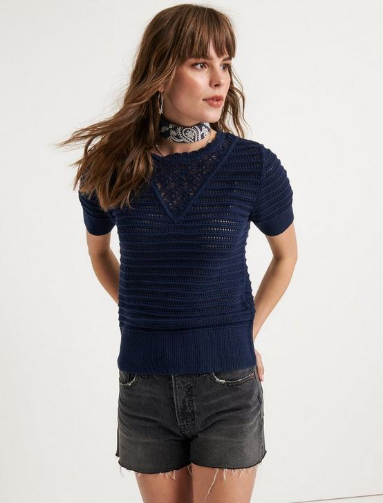 SHORT SLEEVE CROCHET SWEATER, AMERICAN NAVY, productTileDesktop