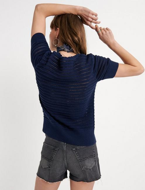 SHORT SLEEVE CROCHET SWEATER, AMERICAN NAVY